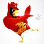 Cartoon Characters, Cardinal, Bird, Baseball, Baseball Player, airbrush, by Lonnie Busch, Franklin, North Carolina