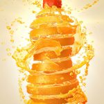 Food Illustration, Orange Drink Splash, by Lonnie Busch, Franklin, North Carolina