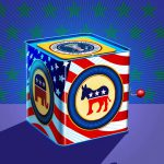Editorial Illustration, Jack In The Box, Politics, Democrat, Republican, President, Presidential Seal, iSpot Stock, 3D, Cinema 4D, by Lonnie Busch, Franklin, North Carolina