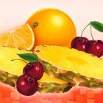 Food Illustration, Mirinda Fiesta Soda Packaging, Pepsi, pineapple, cherries, orange, by Lonnie Busch, Franklin, North Carolina