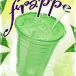 Food Illustration, Green Tea Frappe poster Main Street Coffee & Tea, Franklin, North Carolina, illustrated by Lonnie Busch