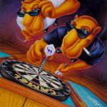 Cartoon Characters, Joe Camel, Darts, Dart Board, R. J. Reynolds, airbrush, by Lonnie Busch, Franklin, North Carolina