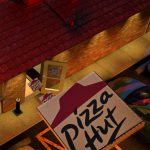 Realism, Pizza Box Flying Up, bird's-eye'view, Pizza Hut, 3D, Cinema 4D, by Lonnie Busch, Franklin, North Carolina