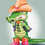 Cartoon Characters, Alligator, Cowboy Hat, Cowboy Boots, Teeny Faces, Gerber, by Lonnie Busch, Franklin, North Carolina