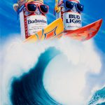 Cartoon Characters, Budweiser and Bud light Can Surfing, Poster, Anheuser-Busch, airbrush, by Lonnie Busch, Franklin, North Carolina