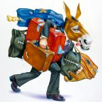 Cartoon Characters, Donkey, Luggage, airbrush, by Lonnie Busch, Franklin, North Carolina