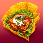 Food Illustration, Taco Salad, airbrush, by Lonnie Busch, Franklin, North Carolina
