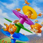 Cartoon Characters, Tipsy Tower, Game, Milton Bradley, airbrush, by Lonnie Busch, Franklin, North Carolina