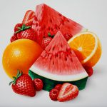 Food Illustration, Mixed Fruit, Watermelon, Strawberry, Orange, Raspberry, airbrush, by Lonnie Busch, Franklin, North Carolina
